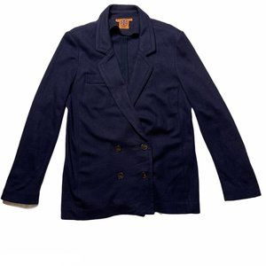 Tory Burch Wool Cardigan Blazer Navy Blue Large